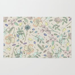 Country Flowers - Tan Rug