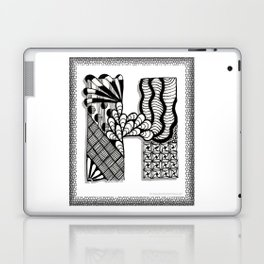 Zentangle H Monogram Alphabet Initials Laptop & iPad Skin