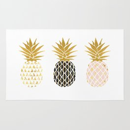 fun pineapple design gold Rug