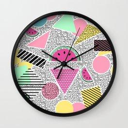 Modern geometric pattern Memphis patterns inspired Wall Clock