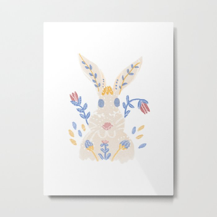 Floral Rabbit Metal Print