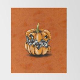 Halloween Pumpkin Pug Throw Blanket