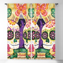 Sugar Skull Couple - Peace & Love Day of the Dead Skull Art by Thaneeya McArdle Blackout Curtain