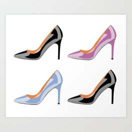 High heel shoes in black, serenity blue and bodacious pink Art Print