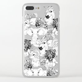 A Parrot, Tiger, Gazelle, Ram, Rooster, Elephant and Unicorn Ladies Walked Into a Bar Clear iPhone Case