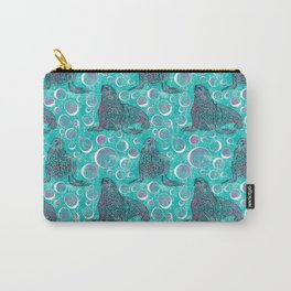 Seals and Bubbles in Pink and Turquoise Carry-All Pouch