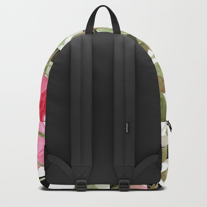Watercolor . Buds of roses on a striped black and white background Backpack