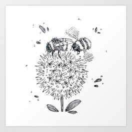 Two Bumble-Bees on a Flower Illustration Art Print