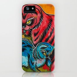Blue and Red Cats iPhone Case