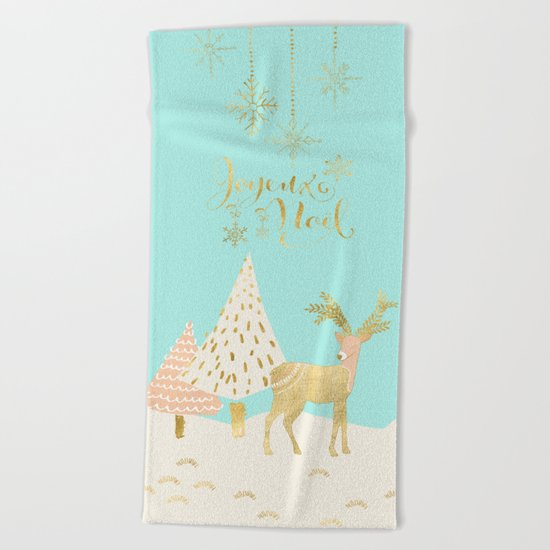 Merry christmas- gold deer - and xmas wishes on aqua backround Beach Towel