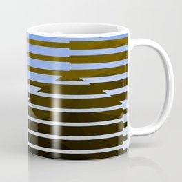 Love Molecules - Throwback Hexagon Geometry Abstract Blue Black White Gold Coffee Mug
