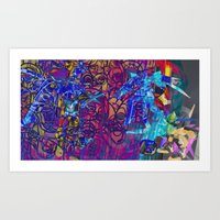 gundam Art Prints featuring Gundam Shades by Invisible Cloud Empire