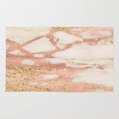Marble - Rose Gold Shimmer Marble with Yellow Gold Glitter Rug