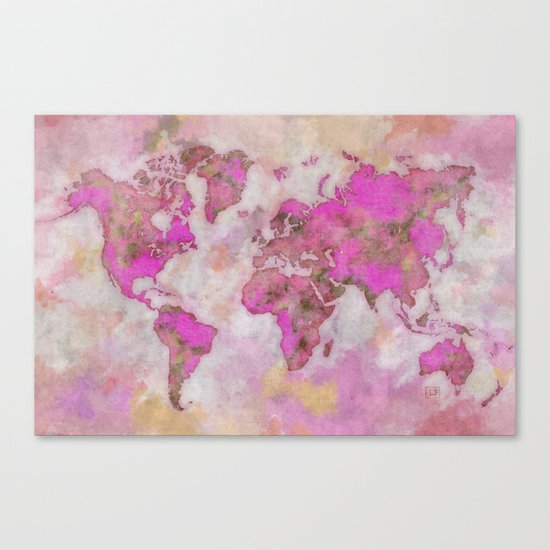 World Map Violet Canvas Print