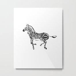 Running Zebra Metal Print
