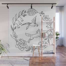 Fox and Loon Playing in Floral Wreath Design — Floral Wreath with Animals Illustration Wall Mural