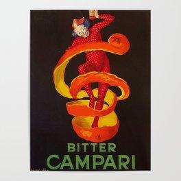 Vintage Orange-Green Motif Bitter Campari Aperitif Advertisement Print Poster Poster