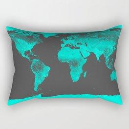 worlD MAP Aqua Gray Rectangular Pillow