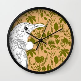 New Zealand Tui with Native Flora Wallpaper Wall Clock