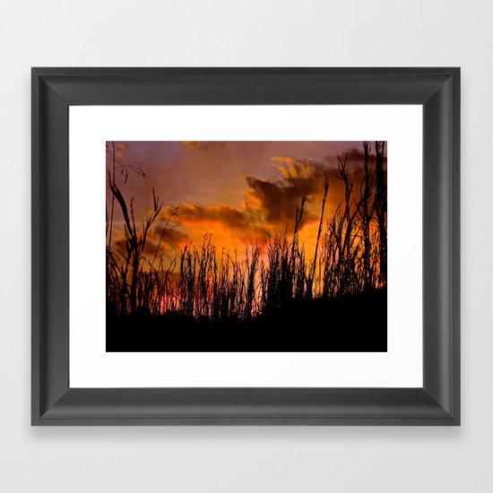 Fall's First Sunset Framed Art Print