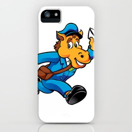 Horse postman character delivering mail iPhone Case