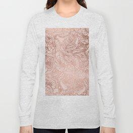 Modern rose gold floral illustration on blush pink Long Sleeve T-shirt