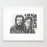 will ferrell Framed Art Prints featuring Luvahs by Peter Dunne