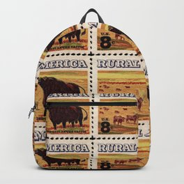 Rural America cattles herd vintage US post stamp Backpack