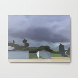 Landscape art - Maraetai Beach - Auckland New Zealand - Summer - Digital Art Metal Print