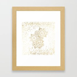 Hand drawn white and gold mandala confetti motif Framed Art Print