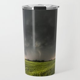 Beautiful Storm - Tornado Emerges From Rain Over Wheat Field in Kansas Travel Mug