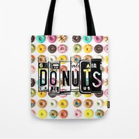 donuts Tote Bags featuring DONUTS by Vertigo
