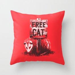 Free cat Throw Pillow