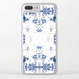 Shibori Tie Dye 5 Indigo Blue Clear iPhone Case