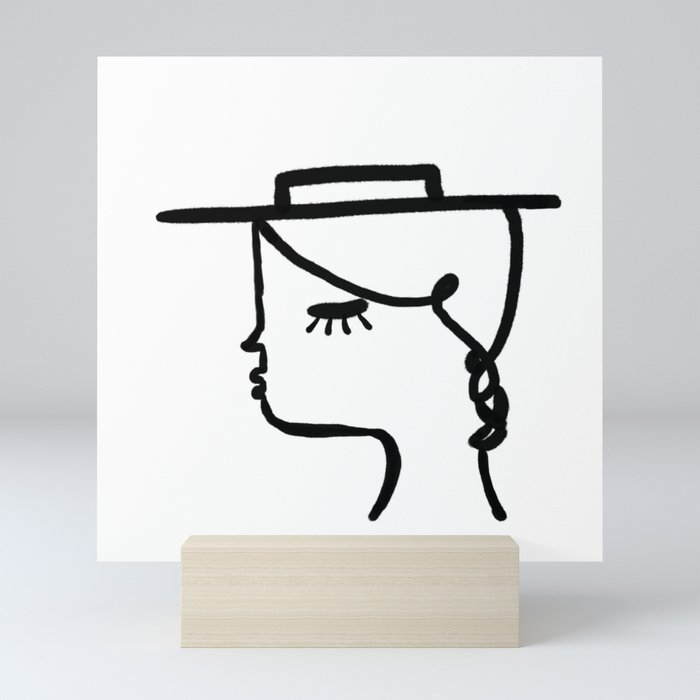 A Girl with A Hat Mini Art Print