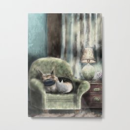 cat and pup together Metal Print