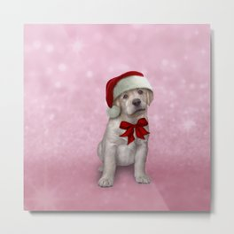 Drawing dog, puppy Labrador in red hat of Santa Claus Metal Print