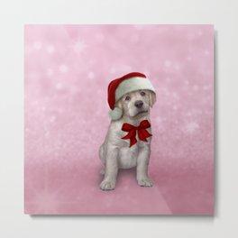 Drawing dog, puppy Labrador in red hat of Santa Claus Metal Print
