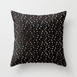 Black & Rose Gold Star Pattern Throw Pillow