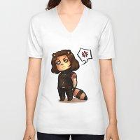 bucky V-neck T-shirts featuring raccoon!bucky by zombietonbo