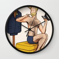 kevin russ Wall Clocks featuring Pinup: Kevin by Tony Breed