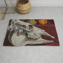 Macabre Cow Skull Still Life in Oil Paint Rug