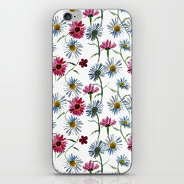Watercolor rose and blue camomiles iPhone Skin