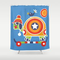tortoise Shower Curtains featuring SKATEBOARD TORTOISE by Shirley Copperwhite