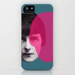 Katherine Mansfield - portrait blue/green pink iPhone Case