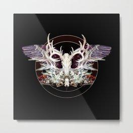 Deer And Crow Skulls Double Image Metal Print