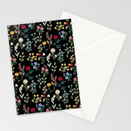 Spring Botanicals Black Stationery Cards