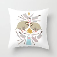 cooking Throw Pillows featuring Cooking Birds by April Yim