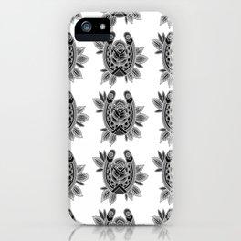 Black & Grey Traditional Rose & Horseshoe iPhone Case