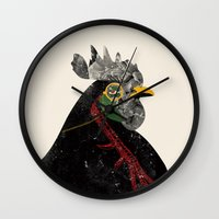 rooster Wall Clocks featuring Rooster by Urška Hočevar